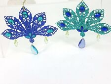 """Peacock Blue & Green Glitter Tail Feather 6"""" Metal Ornament Set w/ Faux Crystals"""