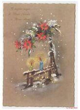 Non Viaggiata cartolina vintage auguri Natale e Anno Nuovo decorazioni natalizie