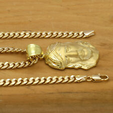 "Mens 18k Gold Plated Hip Hop  JESUS  Pendant 5mm 24"" Cuban Necklace Chain"