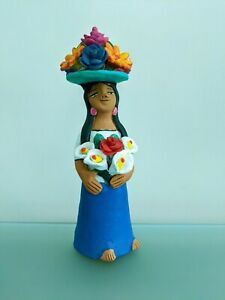 "SIGNED 9.5"" Tall JOSEFINA AGUILAR Muneca with Flower Hat Oaxaca Mexican Folk Art"