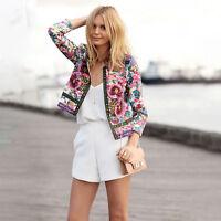 New Womens Floral Long Sleeve Slim Casual Summer Blazer Suit Jacket Coat Outwear