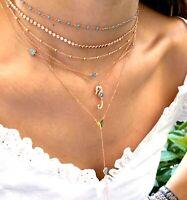Seahorse Pendant Necklace Multicolor Cubic Zirconia 925 Silver 14K Rose Gold