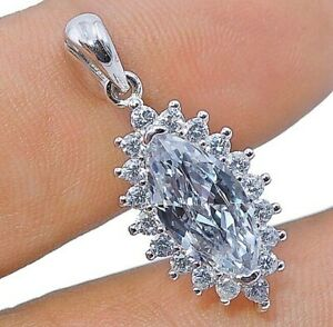 AAA Grade White Sapphire 925 Sterling Silver Pendant Jewelry, V7