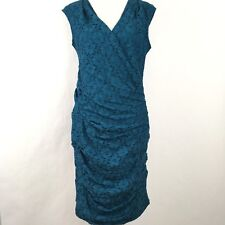 Adrianna Papell Women's Sheath Dress Size 10 Blue Lace Ruched Cocktail NWT