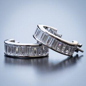 Mens Womens 925 Sterling Silver White Gold Cz Baguette Huggie Hoop Earrings