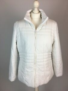 Damart White Padded Jacket UK 14 - 16 Quilted Puffer Zip Pockets Soft Lining