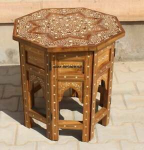 Wooden Inlaid Coffee Table Indian Solid Wood Coffee Table