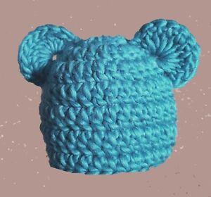 BABY BOYS GIRLS HAT CHUNKY TEDDY BEAR BEANIE WITH EARS new photo prop blue wool
