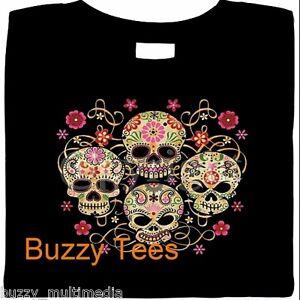 MexicSugar Skulls Shirt, Día de Muertos,Goth Pink Skulls T-Shirt,Day of the Dead