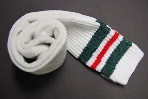1 pairs 24 INCH LONG TUBE SOCKS WHITE STRIP MEN'S & WOMEN'S CREW BOOTS KNEE HIGH