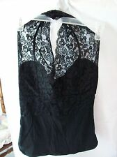 Woman's Black Lace Halter Top from P Luca Milano Size M Cotton Blend
