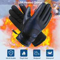 USB Heated Gloves Electric Heating Gloves Anti Skid Motorcycle Gloves PU Leather