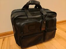 TUMI Alpha 96103DH Leather Rolling Carry On Bag Laptop Briefcase Luggage Black