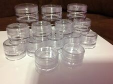50 Small Clear Plastic Jars 5 ml- clear lids- Containers-Pots 1spoon(beads seed)