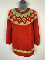 WOMENS TIGI WEAR RED PATTERN KNITTED JUMPER SWEATER PULL OVER SIZE M/ L LARGE