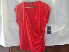Chaps-Wmn's Sz XL-Gathered Side Slvless-Red Knit Top-Wrapped V-NeckNWT-L@@K
