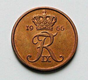 1966 DENMARK Coin - 5 Ore - AU++ lustrous-brown