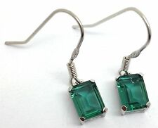 Green Tourmaline Colour Siberian quartz drop earrings Sterling Silver Emerald Cu