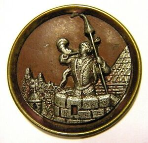 """1.5"""" Antique French or German Picture Button Silver Repousse Castle and Guard"""