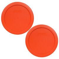 "Pyrex 7201-PC 6"" Pumpkin Orange Plastic Storage 2 Pack Lid for 4 Cup Glass Bowl"