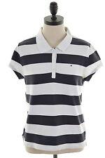 Tommy Hilfiger Womens Polo Shirt Size 18 XL White Stripes Cotton Slim Fit