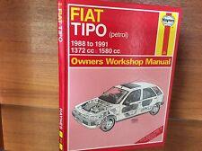 FIAT TIPO 1372cc 1580cc Benzina da 1988 a 1991 Haynes Officina Proprietari Manuale