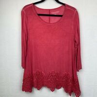 Soft Surroundings Womens Tunic Top Medium 3/4 Sleeve Pink Lace Hem Pull On A291