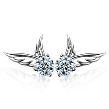 Women 925 Sterling Silver Jewelry Elegant Crystal Ear Stud Earrings Angel Wing