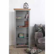 Richmond narrow bookcase grey painted furniture with solid oak top
