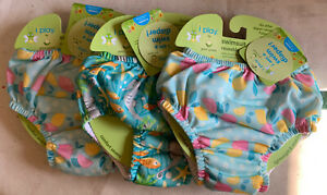 Lot of 3 iPlay Baby Girl Reusable Swim Diapers Size 6 Months 6M 6 M 10-18 Pounds