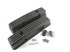 SBC Chevy 350 Finned Black Powder Coated Aluminum Tall Valve Covers BPE-2005B