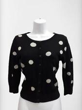 Women's H&M Black Cardigan With Metallic Silver Spots Size 36 UK 8 3/4 Sleeves