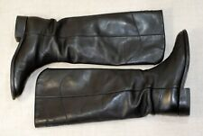 2000$ CHANEL knee high black leather CC combat riding boots 39.5C = 39 us8.5 uk6