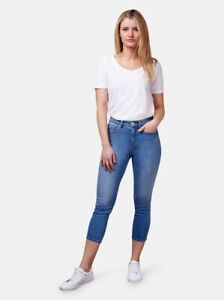 New! JEANSWST Kara Mid Waist Skinny Capri Light Indigo Jeans ~ Size 12