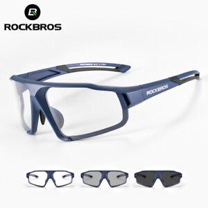 ROCKBROS Cycling Photochromic Sunglasses UV400 Unisex Clear Safety Glasses Blue
