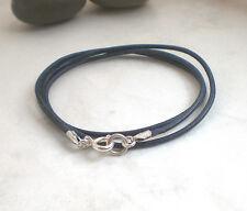 Schlichte LEDERKETTE 925 Silber, Halskette Leder blau, Kette dunkelblau t733