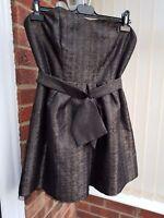 Fab Next Bronze Strapless Dress, Knee Length, Evening, Party, Size 14, VGC