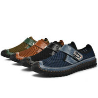 Mens Moccasin Driving Shoes Sandals Hollow Out Mesh Shoes Flats Slip On Summer