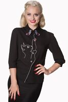 Snow Bird Kitty Cat Butterfly Retro Vintage 50's Blouse Shirt Top Banned Apparel