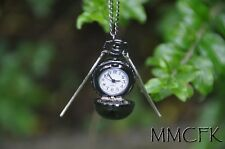 Harry Potter Magical Fantasy Flying Ball Pocket Watch Necklace with Silver Wings