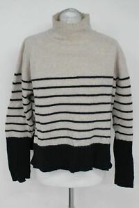 WHISTLES Ladies Beige & Black Striped 100% Cashmere Jumper Approx. Size M
