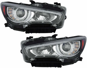 FOR INFINITI Q50 2014 2015 2016 2017 HEADLIGHTS W/O AFS RIGHT & LEFT PAIR