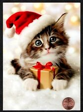 Christmas Kitten Cat Santa Hat Gold Present Bow - Christmas Greeting Card - NEW