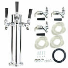 Hot! Stainless Steel Triple 3 Tap Faucet Draft Beer Tower Homebrew Bar Silver US
