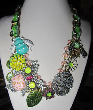 Betsey Johnson Vintage Critters Flower Owl Pendant Bug statement Necklace