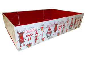 10 Christmas Gift Hamper Trays, Santa Snowman Xmas Sweet Hampers - 20x15x5cm