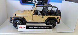 Maisto 1:18 Jeep Wrangler Rubicon Matt Sand Open Top  Diecast Car