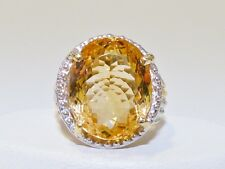 GENUINE! 19.06ct Brazilian Citrine Oval Cut Ring, Solid Sterling Silver 925
