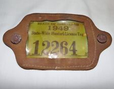 1949 Statewide Maryland Hunting License & Rare Leather Hang Button Holder