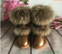 Womens Winter Warm Genuine Leather Fox Fur Thicken Flats Snow Ankle Boots Shoes